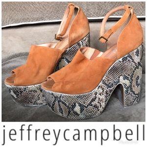 Jeffrey Campbel Studio platform wedge suede python
